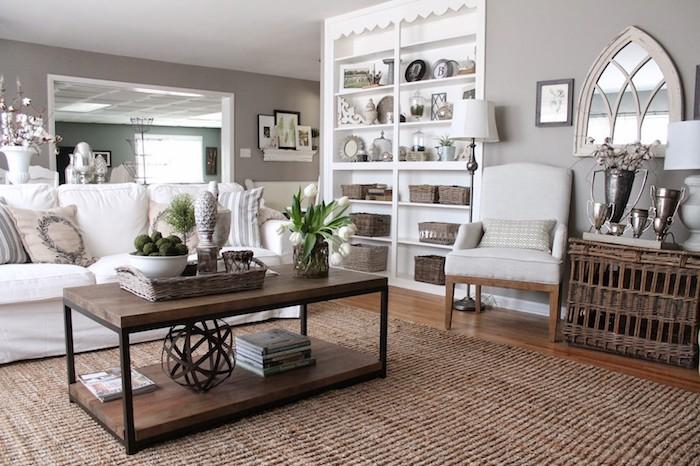 welche farbe passt zu grau, elegante klassische idee, wohnzimmer stilvoll dekorieren