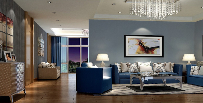 welche farbe passt zu grau, blaue wand idee, blaue möbel, zimmergestaltung elegant