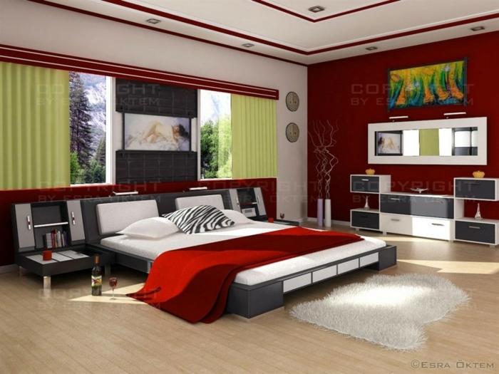 zimmerdesign in rot, grün und weiß, naturnahe gestaltung in warmen farben, schlafzimmer bett, groß und gemütlich