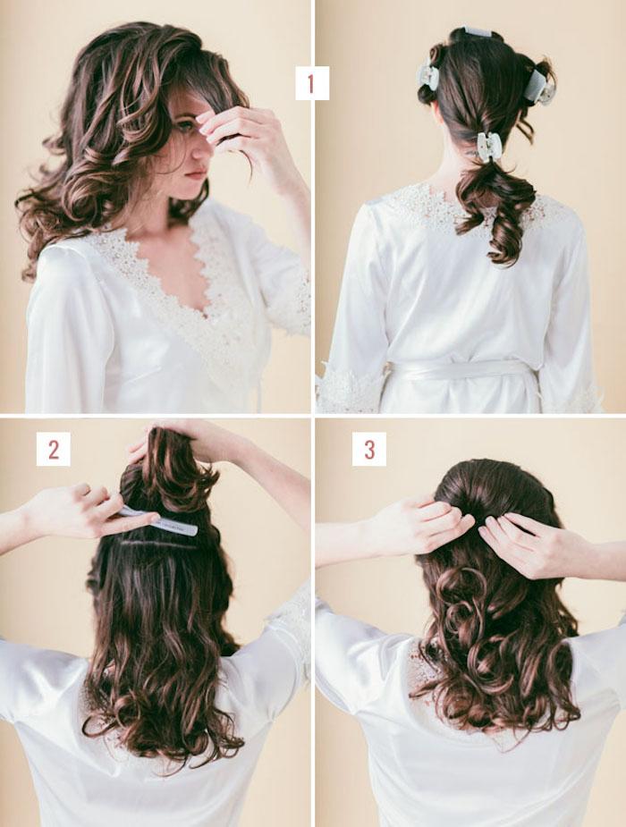 festliche frisuren halblange haare, locken machen, mittellange braune haare, brautfrisur selber machen