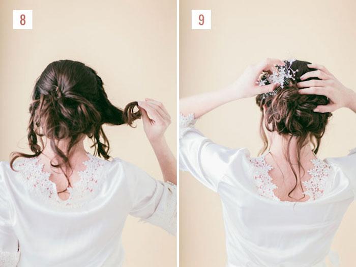 festliche frisuren halblange haare, hochzeitsfrisur selber machen, brautfrisur mit zöpfen, kopfschmuck