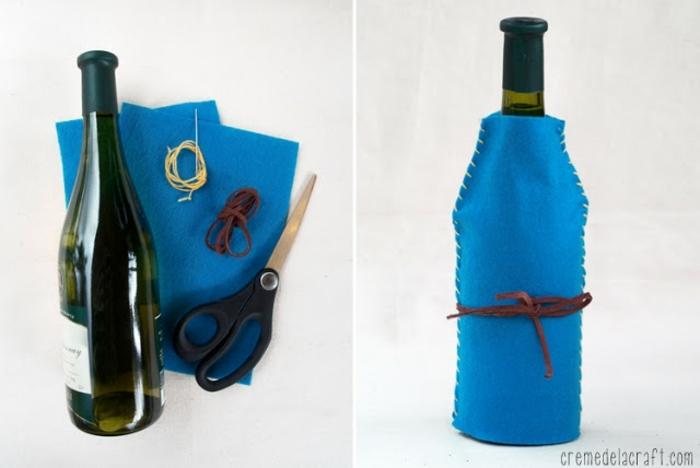 alles, was Sie brauchen, um diese Verpackung zu nähen, Flasche einpacken in blauer Farbe