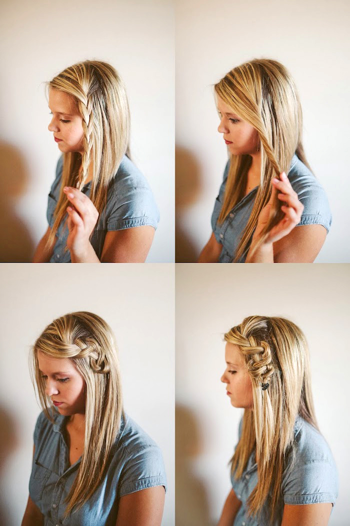 flechtfrisuren einfach, blaues hemd mit kurzen ärmeln, glatte haare, flecht frisuren mittellanges haar