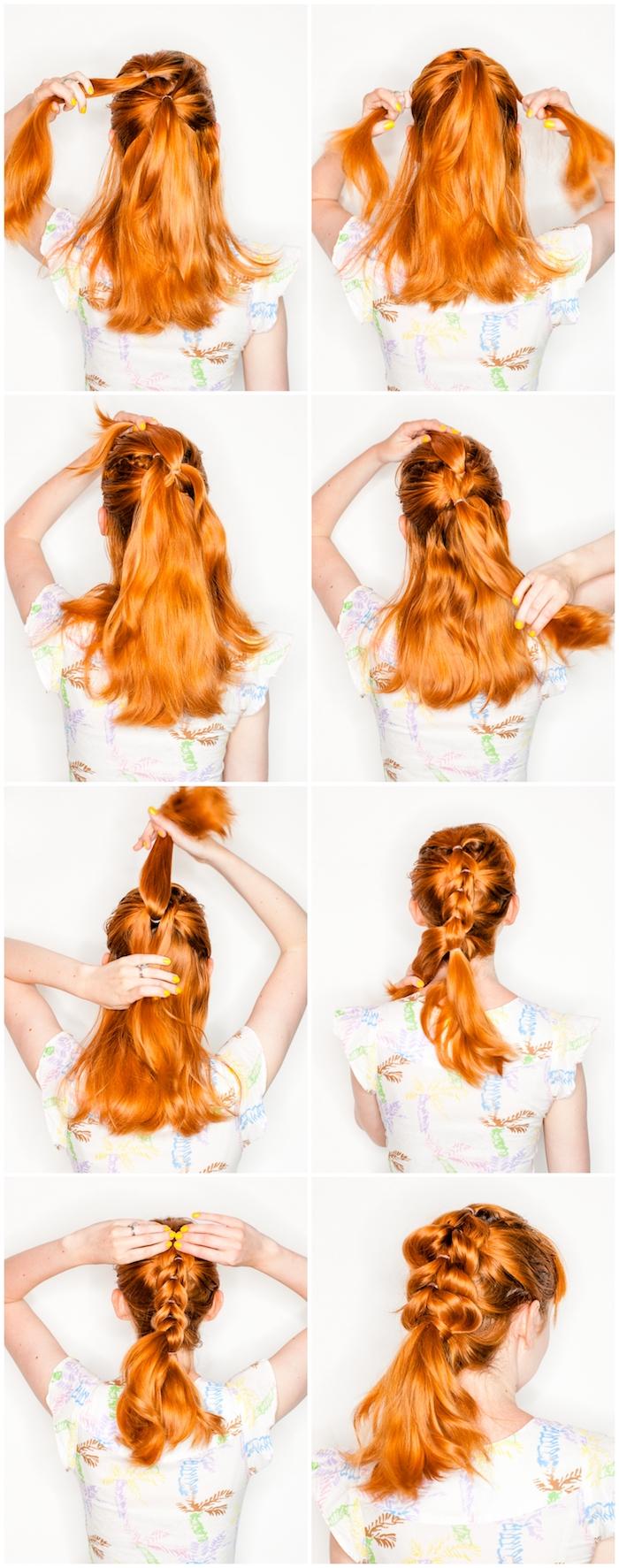 flechtfrisuren einfach, mittellange orangenfarbene haare, frauenfrisuren, frisurenideen