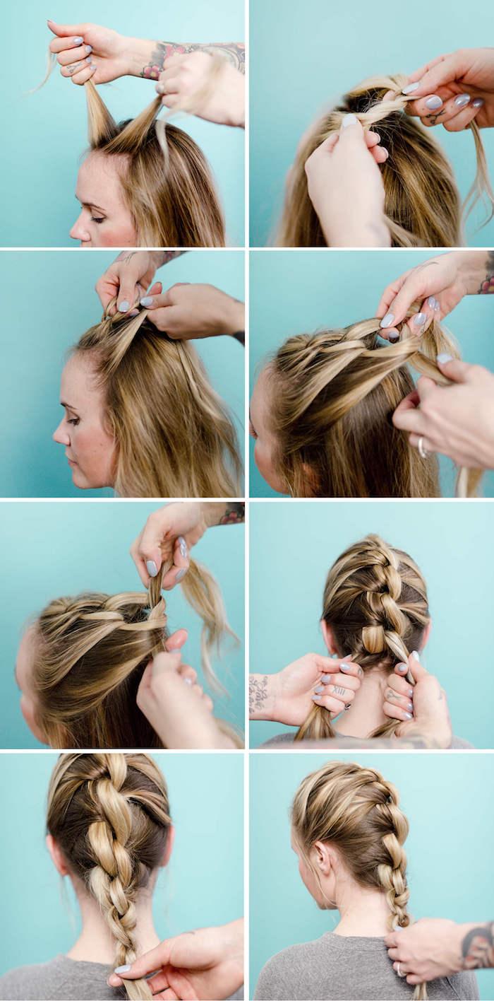 blonde strähnen, frisuren mittellage haare, graues t shirt, flechtfrisur selber machen