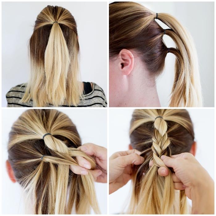 flechtfrisuren mittellange haare, ombre blond, pferdeschwanz binden, haare zum zopf binden