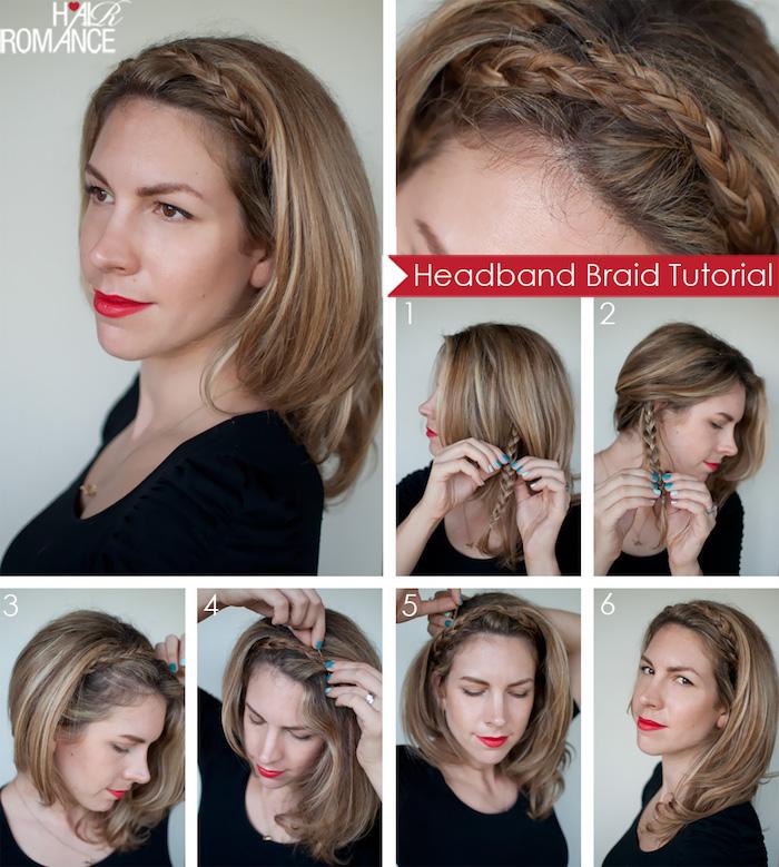frisuren mittellange haare, roter lippenstift, frisur mit zopf, einfache alltagsfrisur, collage