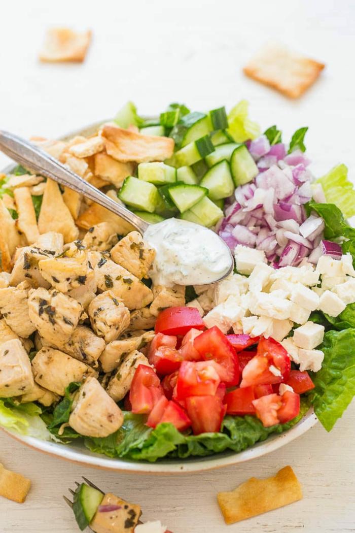 die Zutaten eines Salats, Tomaten, Fleisch, Käse, Gurken und Zwiebel, ausgefallene Salate zum Grillparty