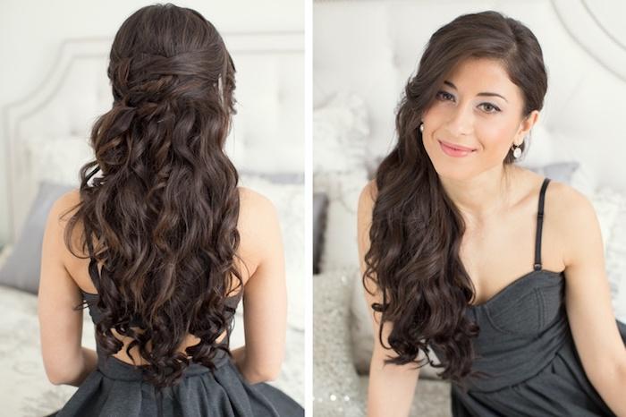 frisuren für locken, lange schwarze haare, halboffene frisur, graues kleid, festliche frisuren
