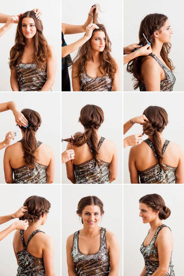 frisuren für locken, mittelscheitel ziehen, haare toupieren, hochsteckfrisur selber machen