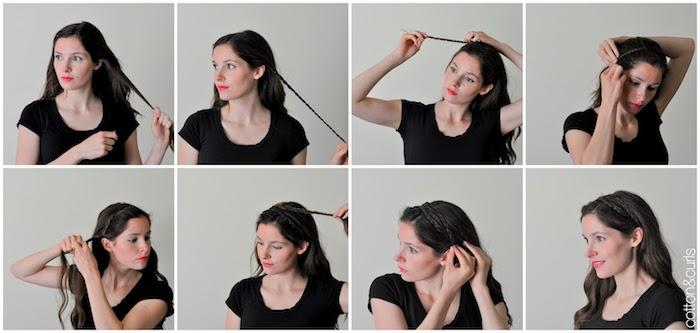 frisuren für locken, frau mit schwarzem t-shirt, roter lippenstift, kranzfrisur mit zöpfen, tutorial