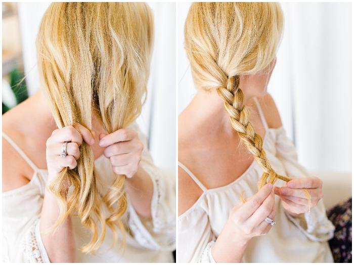 frisuren halblang gestuft locken, zopf flechten, mittellange blonde haare, silberner ehering mit stein