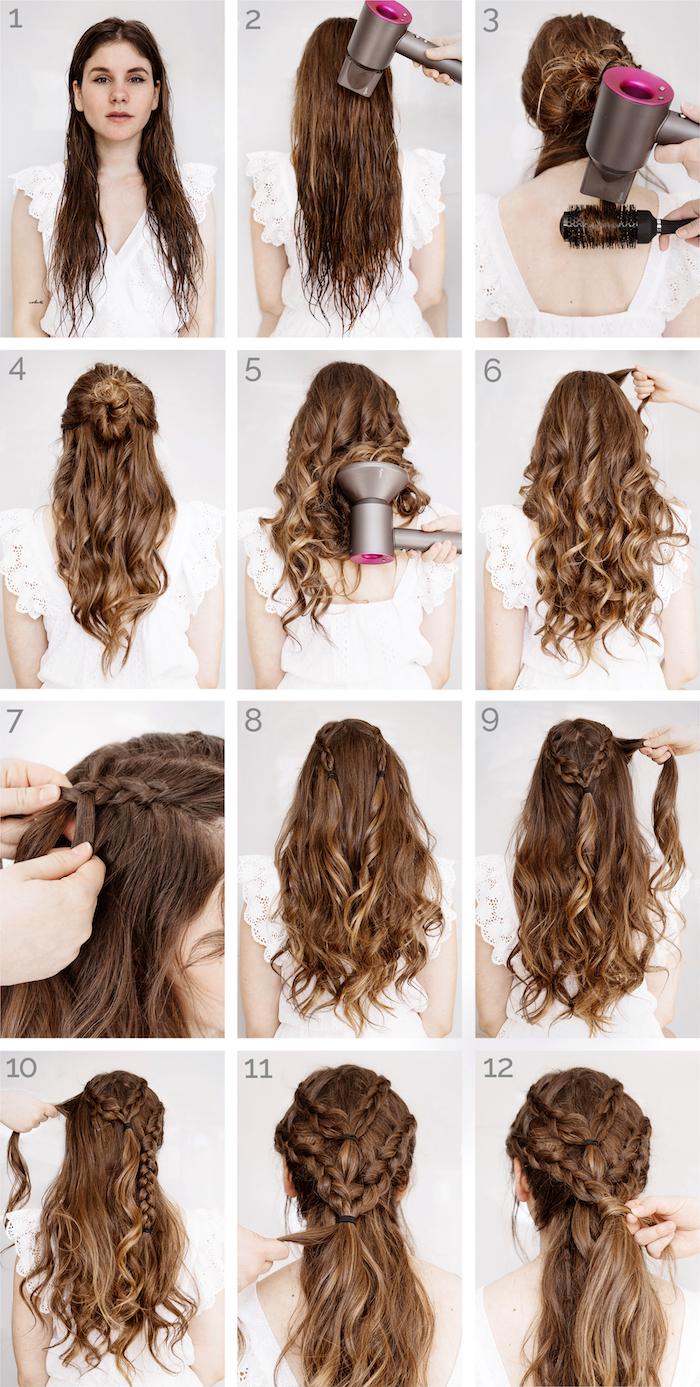 Frisuren lange haare locken flechten