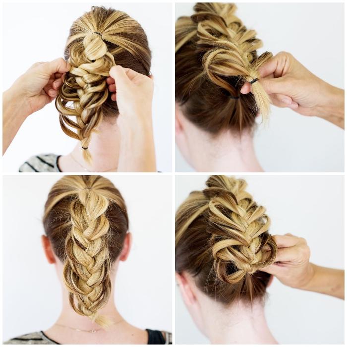 frisuren selber machen, zopf locker machen, braune haare mit blonden stähnen, hochsteckfrisur