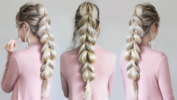 frisuren selber machen, rosa bluse, lange platinblonde haare, großer lockerer zopf, zopffrisur