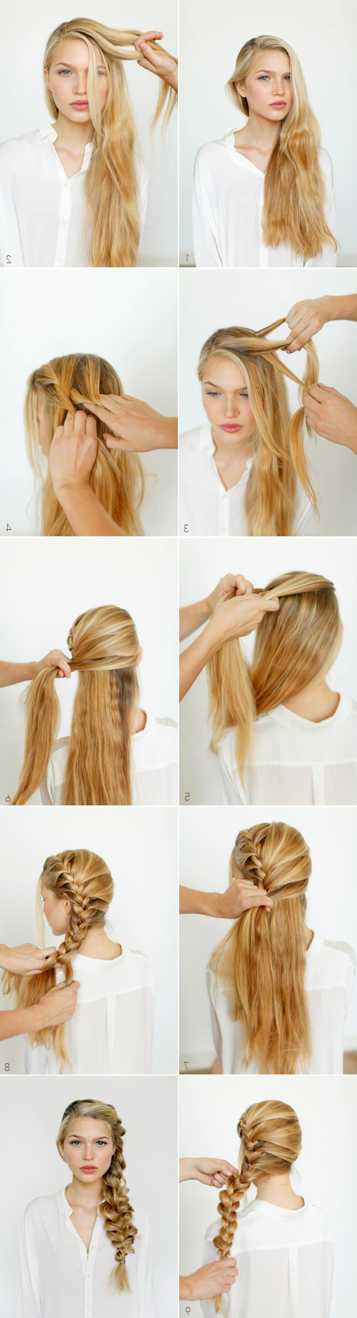 lange blonde haare, frisuren selber machen, lockerer seitenzopf, anleitung in bildern, flechtfrisur