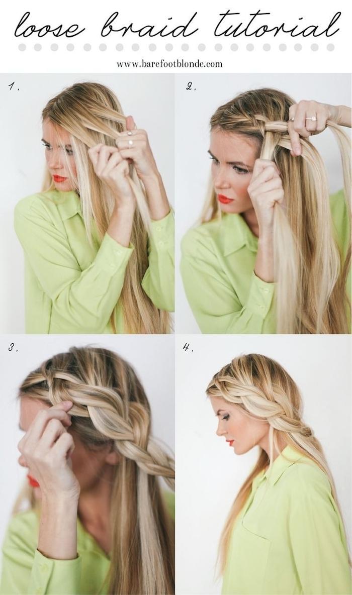 frisuren selber machen, weites grünes hemd, seitenzopf selber flechten, alltagsfrisuren