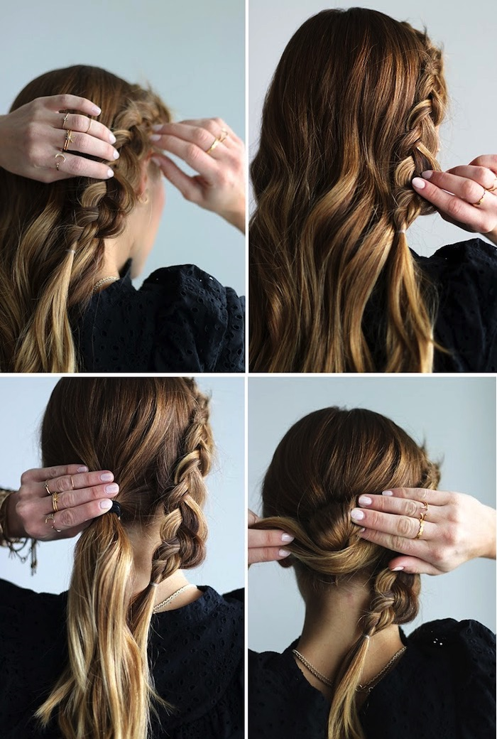 frisuren tutorial, lockere zöpfe binden, haare zum dutt wickeln, goldene ringe, frauenfrisuren