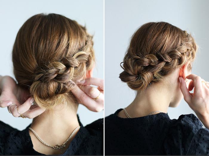 frisuren tutorial, braune haare mit blonden highlights, schwarze bluse, haare hochstecken, hochsteckfrisur