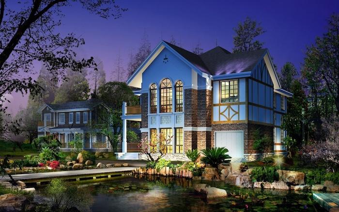 garten gestaltungsideen, graues blaues haus mit künslichem see, villa, nacht