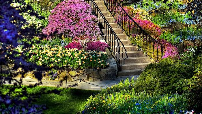 gartenbeet gestalten, treppe mit natursteinfliesen, park, viele gartenpflanzen und blumen