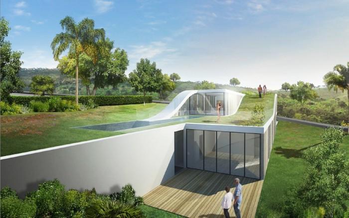 gartengestaltung beispiele, modernes weißes haus mit garten am dach, große palmen