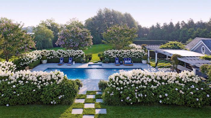 gartenplanung beispiele, haus mit schwimmbad im garten, büsche mit weißen rosen