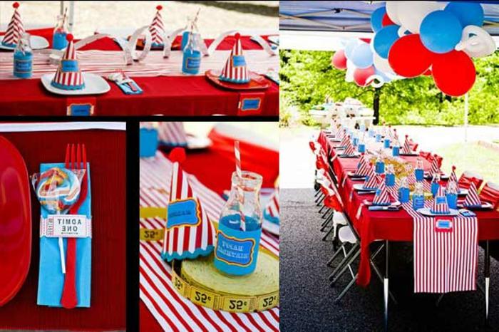deko 1 geburtstag selber machen, schlne deko ideen in blau und rot, feier für mädchen und jungen, lutsche deko