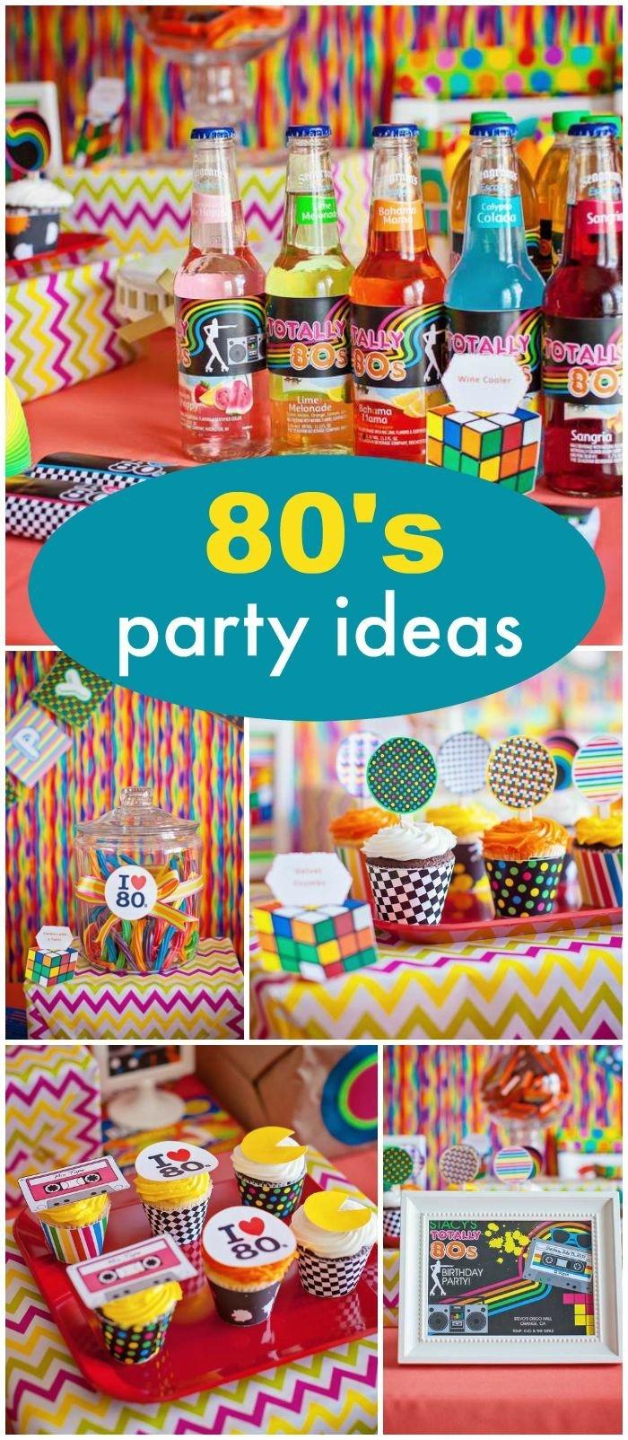 tischdeko geburtstag, idee für eine motivparty im stil achtziger jahren, bunte dekorationen, lustige getränke