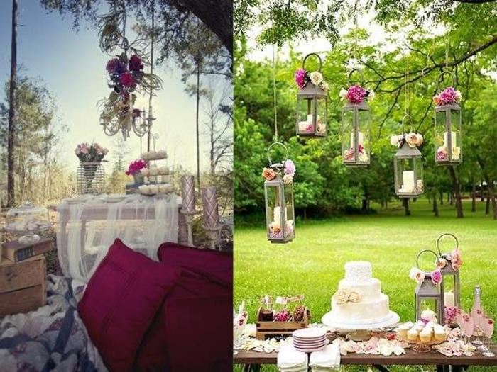 party deko geburtstag, elegante dekoartikel zum verzieren von einem stilvollen garten, lila motive
