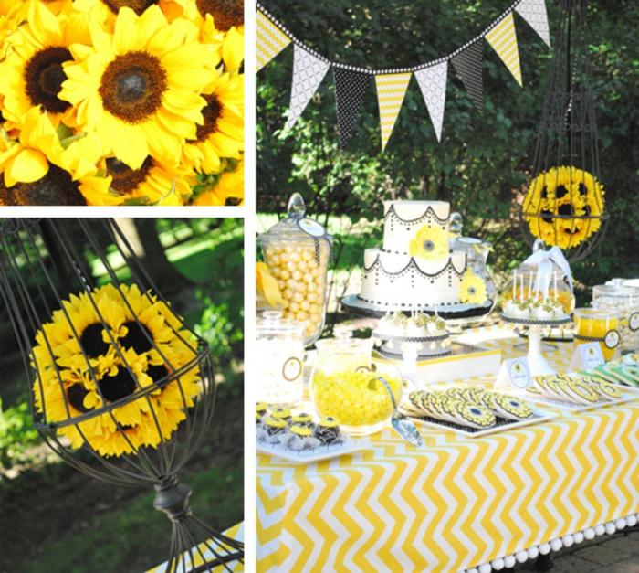 party deko geburtstag, motivarty sonnenblumen, party gestaltung in gelb, tischdeko, tisch ausstatten