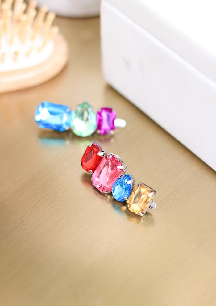 Silberne Haarklammern mit bunten Kristallen, Idee für selbstgemachtes Geschenk