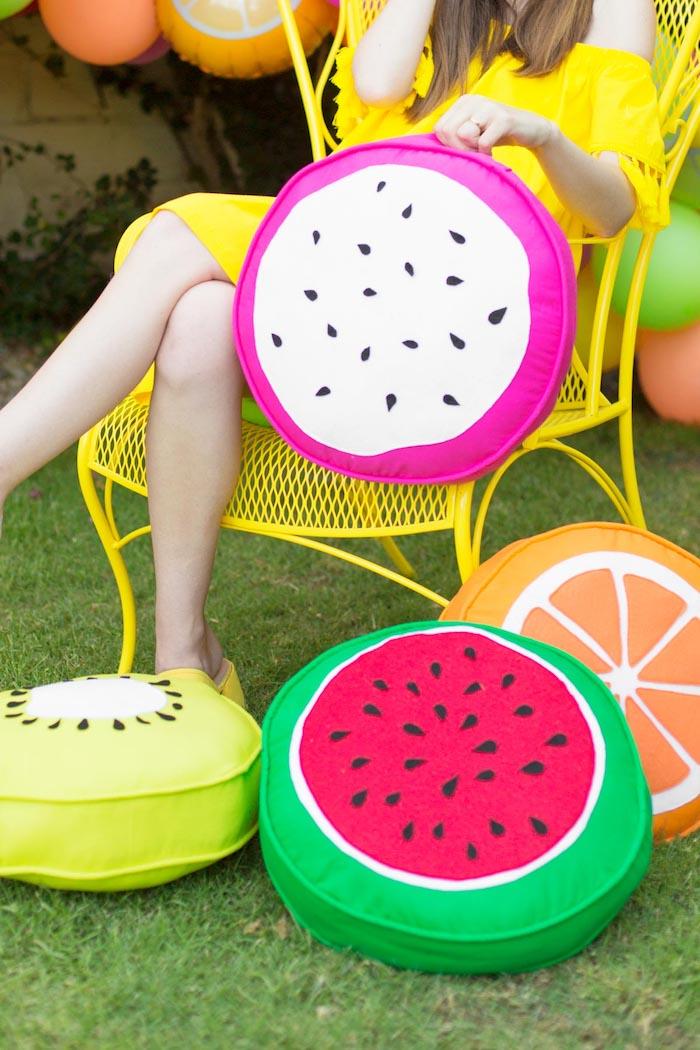 Obst Kissen selber nähen, Idee für Sommerparty, Wassermelone Kiwi und Zitrone