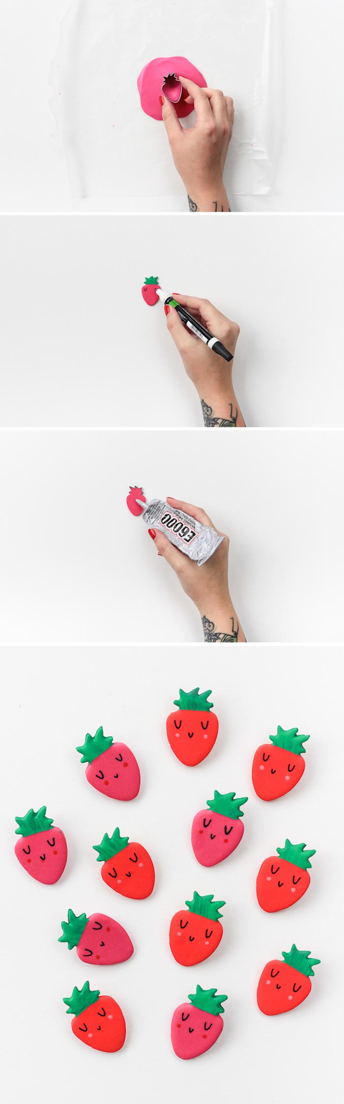 Erdbeeren Abzeichen selber basteln, aus Fimo schneiden, Gesicht zeichnen