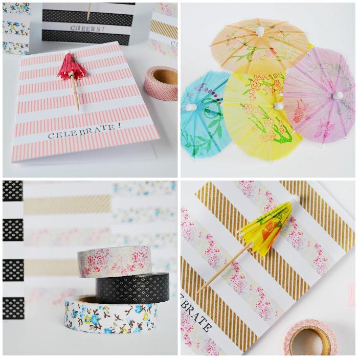geburtstagskare basteln, cardstock mit cocktailschirmchen und washi tapes dekorieren, basteln mit kindern