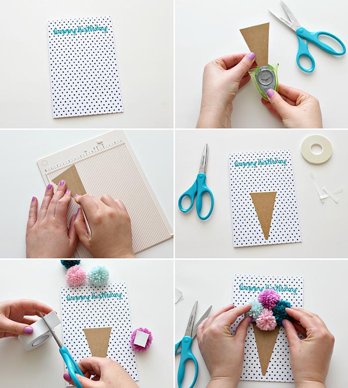 geburtstagskarte basteln, schere, dreieck ausschneiden, gepunktetes papier, doppelkleber, bommel selber machen