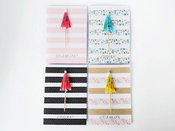 geburtstagskarte basteln, selbstgemachte klappkarten in verschiedenen designs, bunte cocktailschirmchen, washi tapes