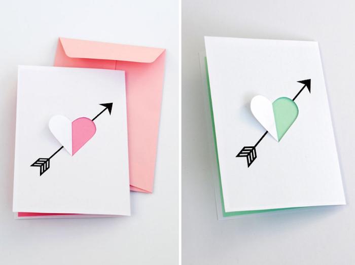 geburtstagskarte basteln, rosa briefumschlag, grünes und weißes papier, herz mit pfeile