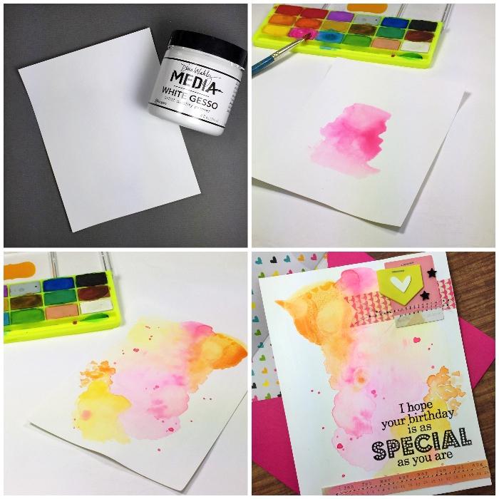 geburtstagskarte basteln, weiße klappkarte mit wasserfarben verzieren, pinsel, diy karte zum geburtstag