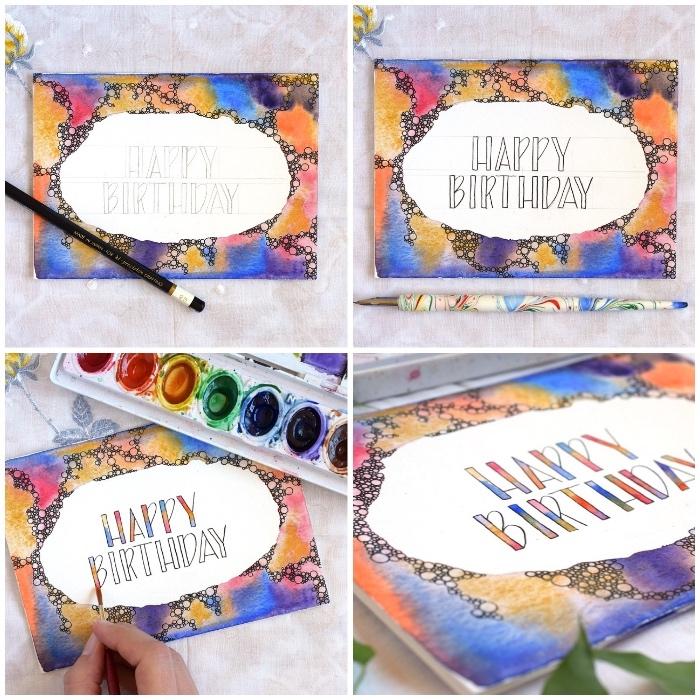 geburtstgskarten selber machen, malen mit wasserfarben, buchstaben zeichnen und färben, klappkarte