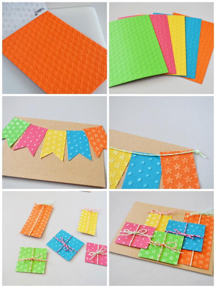 geburtstagskarten selber machen, blätter buntes papier, girlande basteln, kleine geschenke