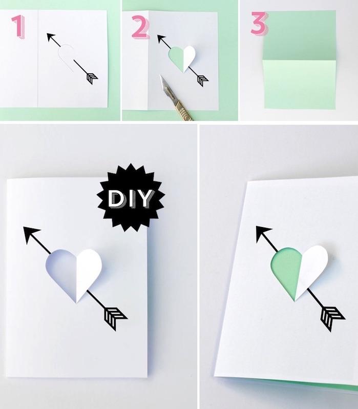 geburtstagskarten selber machen, herzform mit cutter ausschneiden, herz mit pfeile, diy