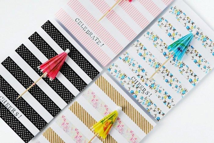 geburtstagskarten selber machen, cardstock, wshi tapes in verschiedenen designs, bunte cocktailschirmchen