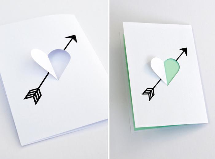 geburtstagskarten selber machen, weißes und grünes papier, herz mit pfeile, herzform
