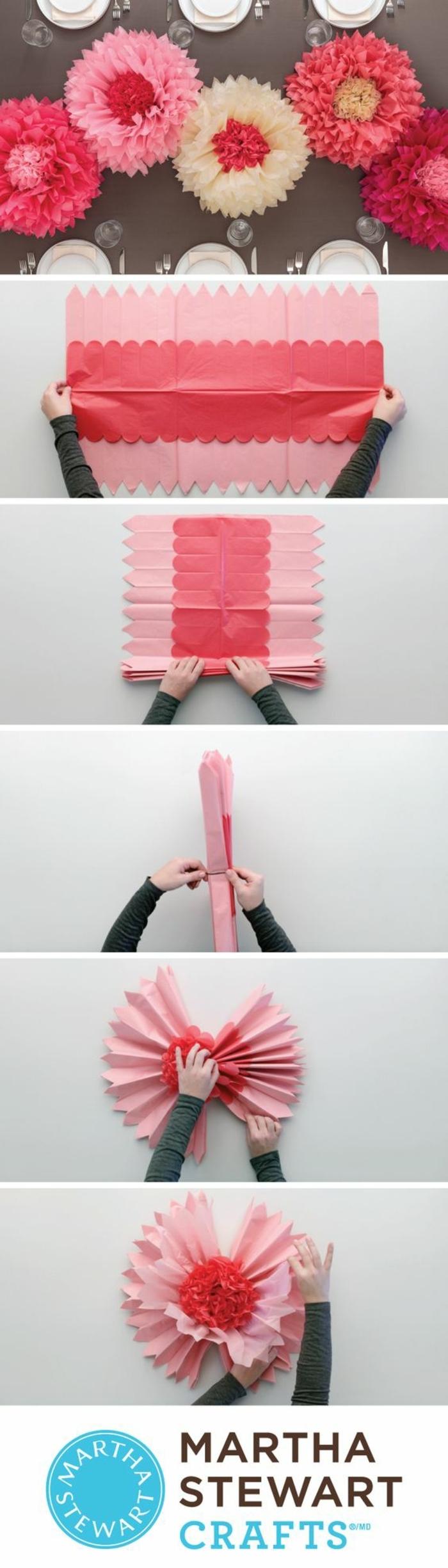 schöne idee für diy deko für 18 geburtstag, vile papierblumen in rosa farbe, pinke dekorationen selber machen