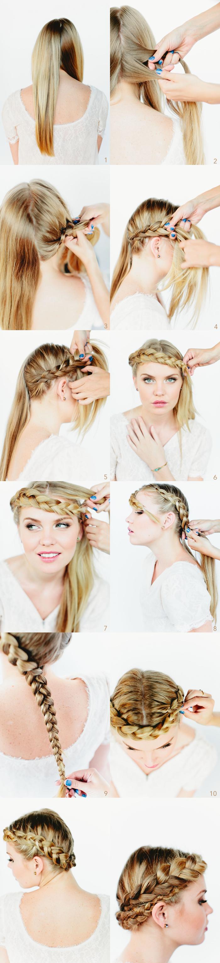 geflochtene zöpfe, frau mit mittellangen blonden haaren, kranzfrisur, kranzzopf, kronenzopf