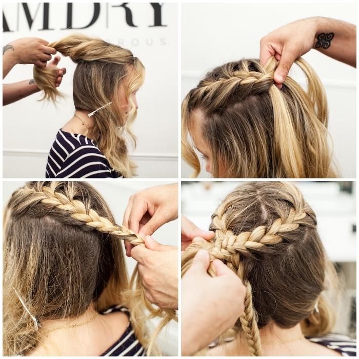 geflochtene zöpfe, blonde strähnen, haare zu zöpfen binden, kranzfrisur selber machen