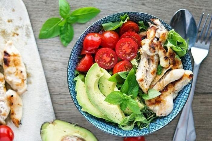 einfache rezepte ernährungsplan, tomaten, avocado, fleisch, basilikum, schüssel, löffel, gabel