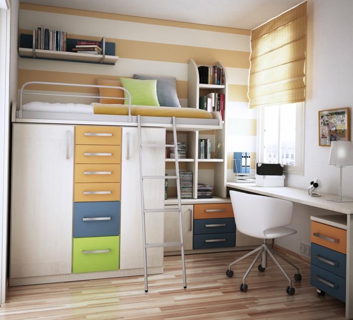 Hochbett mit Leiter, kompakter Schreibtisch, Kinderzimmer Ideen für kleine Räume