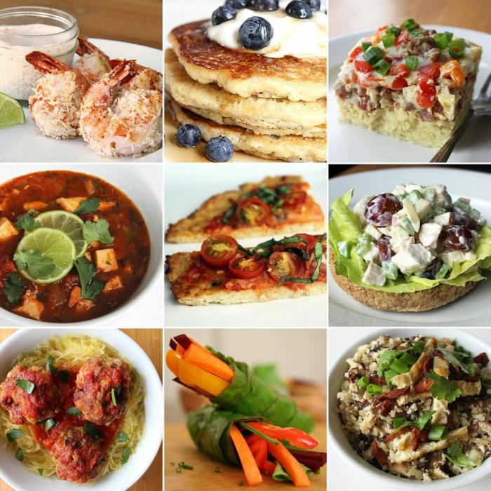 alles gesund, lecker und schnell, collage, neun bilder, einfache rezepte ernährungsplan,